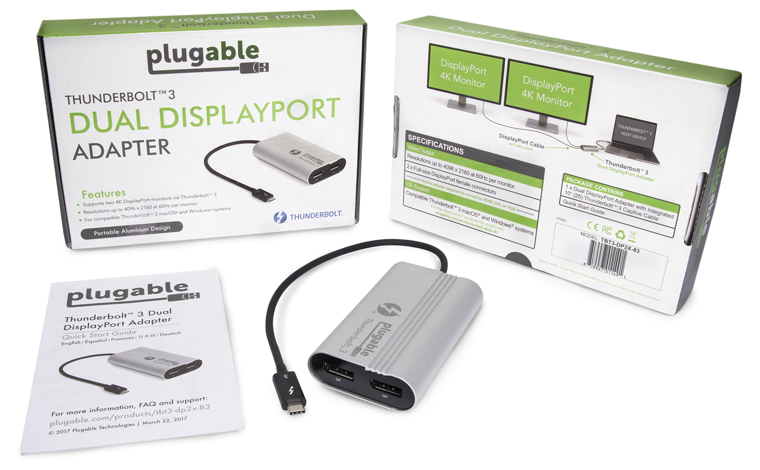 Plugable Thunderbolt 3 to Dual DisplayPort Display Adapter Compatible with Late 2016/2017/2018 MacBook Pro Systems (Supports Up to Two 4K 60Hz Monitors Or One 5K) [Thunderbolt 3 Certified] by Plugable (Image #5)