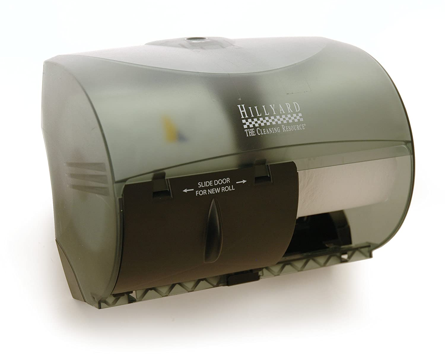 2 Roll Tissue Dispenser Translucent Smoke Side-By-Side Double Roll Bathroom Tissue Dispenser Hillyard Industries 42525