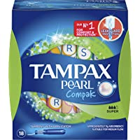 Tampax Pearl Compak Tampons Super, Medium, 18 Count