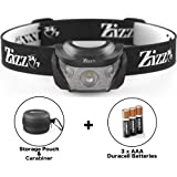 ZIZZ 24-7 Best Head Torch Package – Powerful Waterproof CREE LED Headlamp c/w Batteries & SPECIAL BONUS Storage Case. Premium Quality & Lightweight for Running, Camping, Fishing, Hiking, DIY or Dog Walking