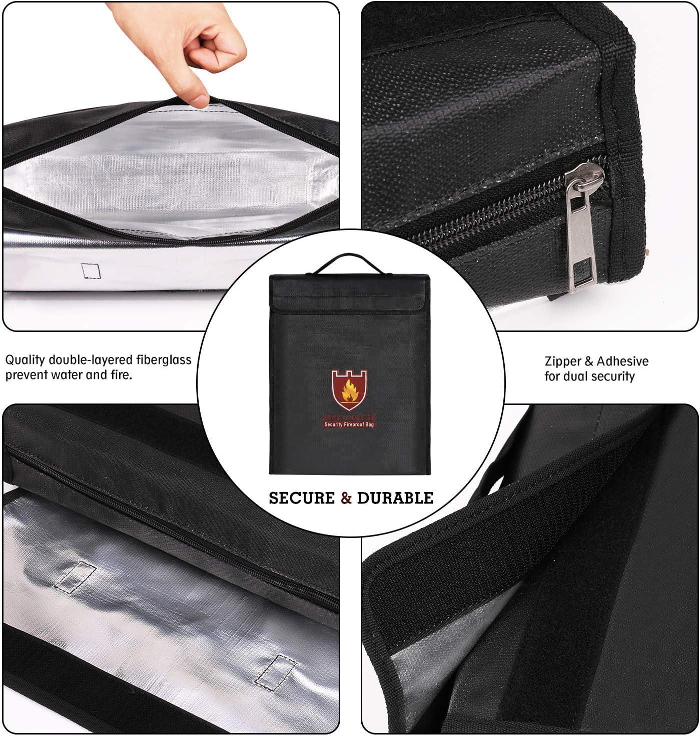 Cierre de Velcro Fuego Fija para Documentos Fuego y Agua Best Integrado Dinero Bolso//bater/ía de Fibra de Vidrio con Revestimiento de Silicona Negro Cremallera