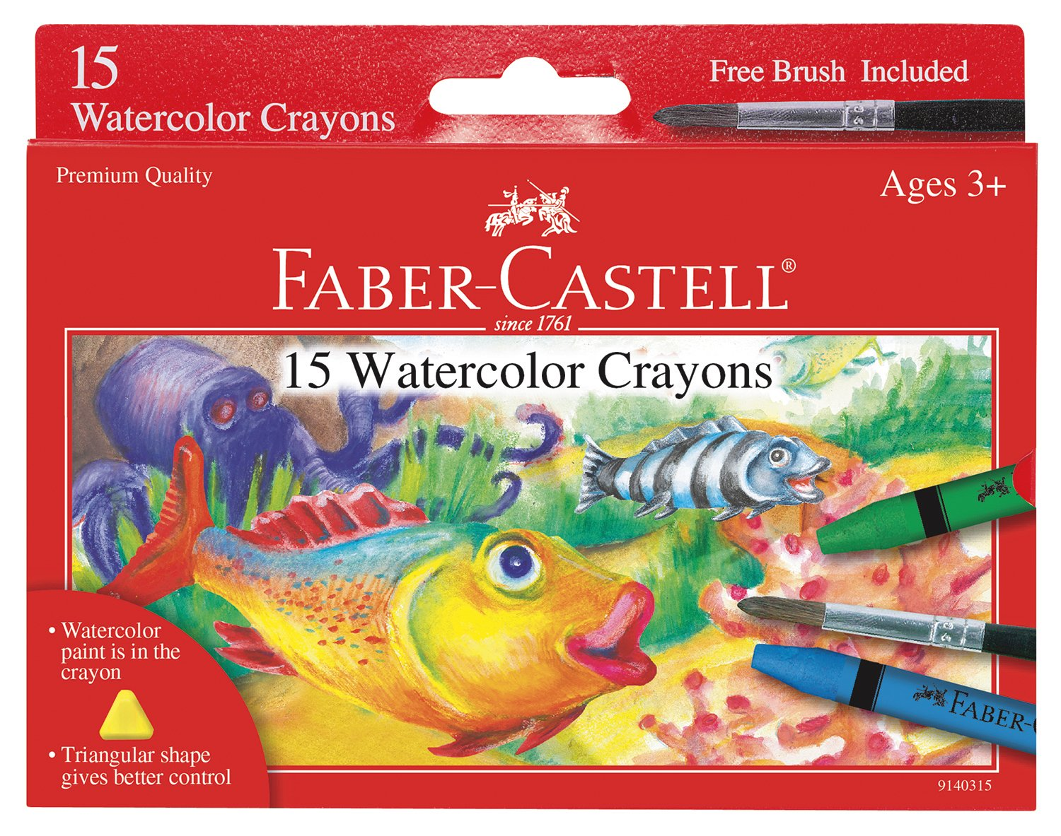 Faber-Castell Watercolor Crayons with Brush, 15 Colors - Premium Quality Art Supplies for Kids by Faber-Castell