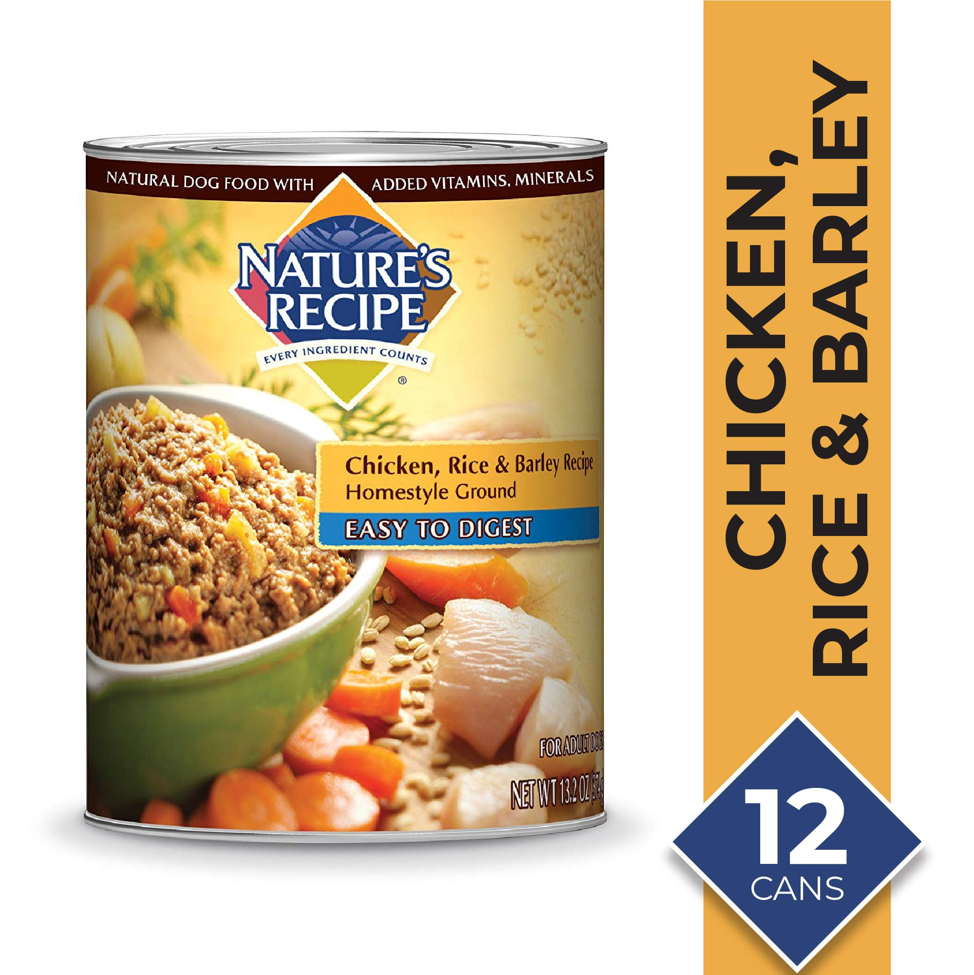 Nature's Recipe Chicken, Rice & Barley Recipe Wet Dog Food, 13.2 Ounces (Pack of 12), Easy to Digest Homestyle Ground by Nature's Recipe