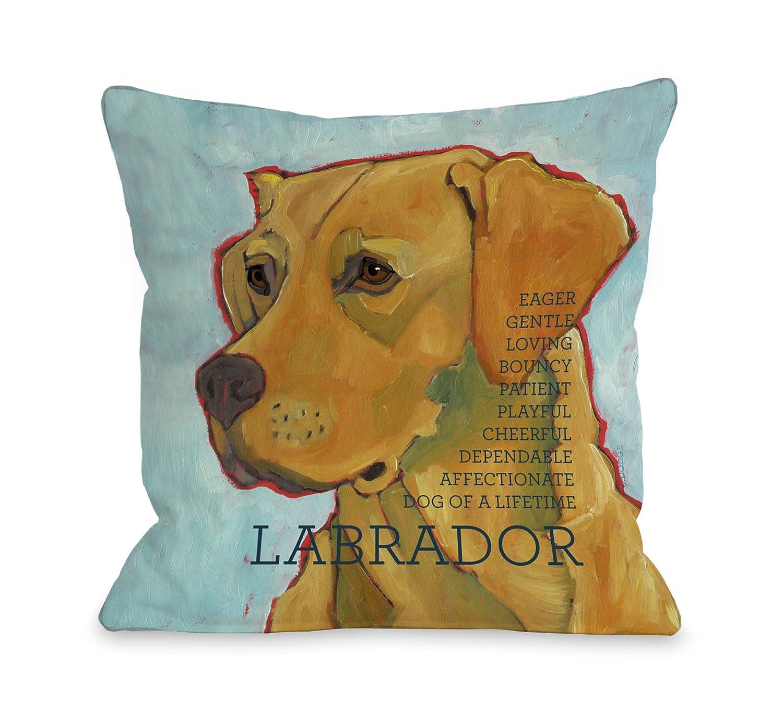 One Bella Casa Labrador 3 Throw Pillow, 16 by 16-Inch