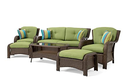 La Z Boy Outdoor Sawyer 6 Piece Resin Wicker Patio Furniture Conversation Set Cilantro Green With All Weather Sunbrella Cushions