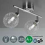 Lámpara de techo con 2 bolas de cristal I Foco LED I Incluye 2 bombillas LED G9 I Orientable y giratoria I Barra I Metal I 230 V I IP20 I 2 x 3,5 W