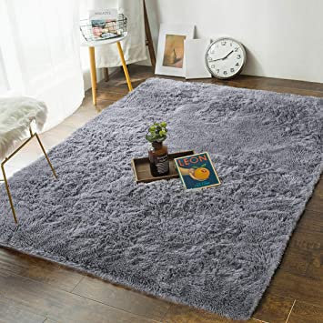 Soft Bedroom Rugs - 4\' x 5.3\' Shaggy Floor Area Rug for Living Room Kids  Room Home Decor Carpet by AND BEYOND INC, Grey