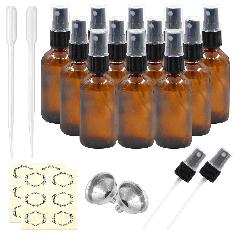 Pack of 12, 2 oz Amber Glass Bottles with Black Fine Mist Sprayers by Mavogel, Including 2 Extra Black Fine Mist Sprayers, 2 Stainless Steel Mini Funnel, 2 Transfer Pipettes, 12 Bottle Labels Glass Bottles-2