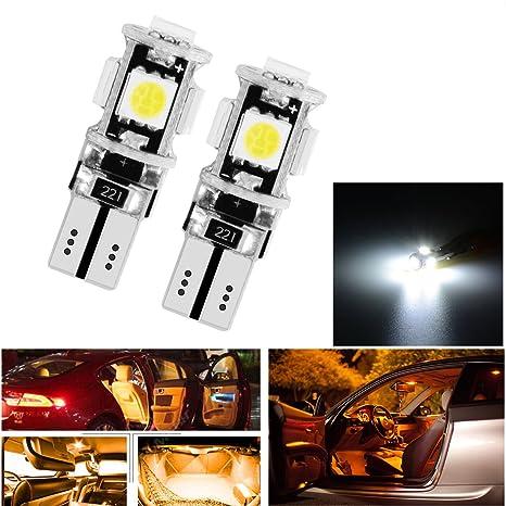 Bombillas LED T10 para coche libre de errores Canbus, 5SMD xenón
