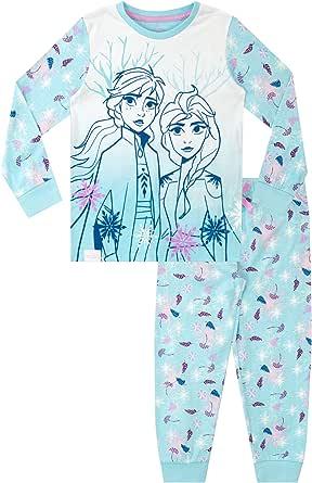 Disney Pijamas de Manga Larga para niñas El Reino del Hielo Frozen