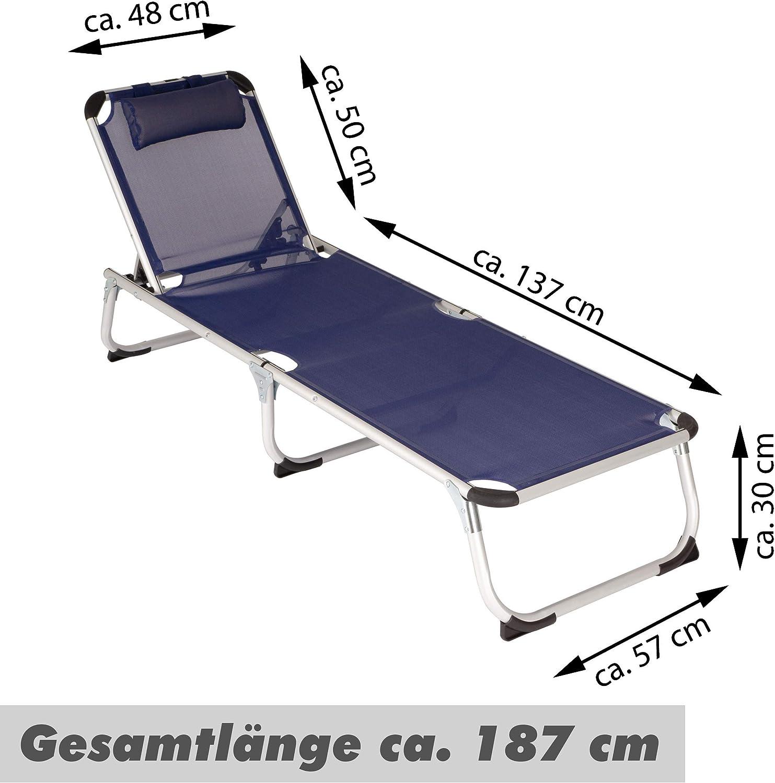 Divero Gartenliege Camping Liege 187x59x30 cm mit Kopfkissen Sonnenliege klappbar 5fach verstellbar Aluminiumrahmen Dreibeinliege wetterfest robust Puula Beige