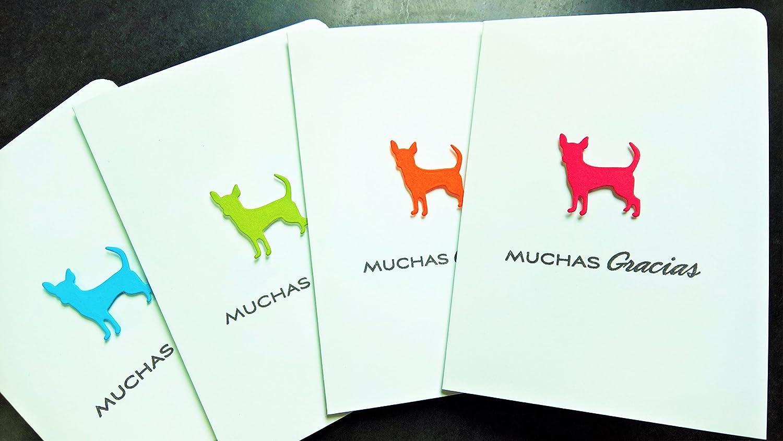 Chihuahua Dog Thank You Notes Set of 4, Gracias Cards Set