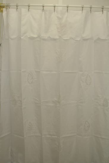 Image Unavailable Not Available For Color Leaf Silhouette Embroidered Fabric Shower Curtain With Attached Valance