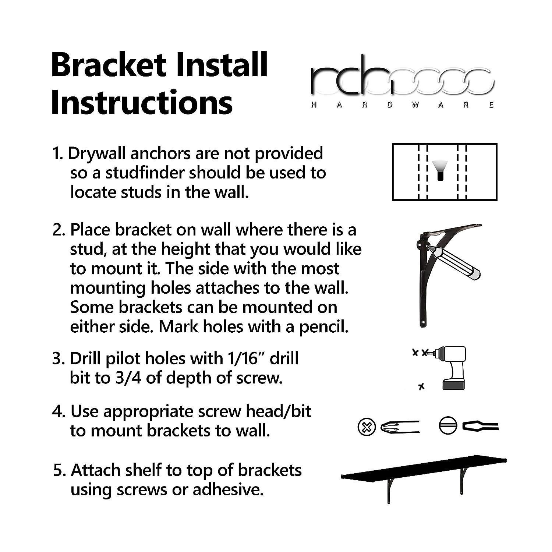 RCH Hardware 8206CHR L Charcoal Shelf Bracket