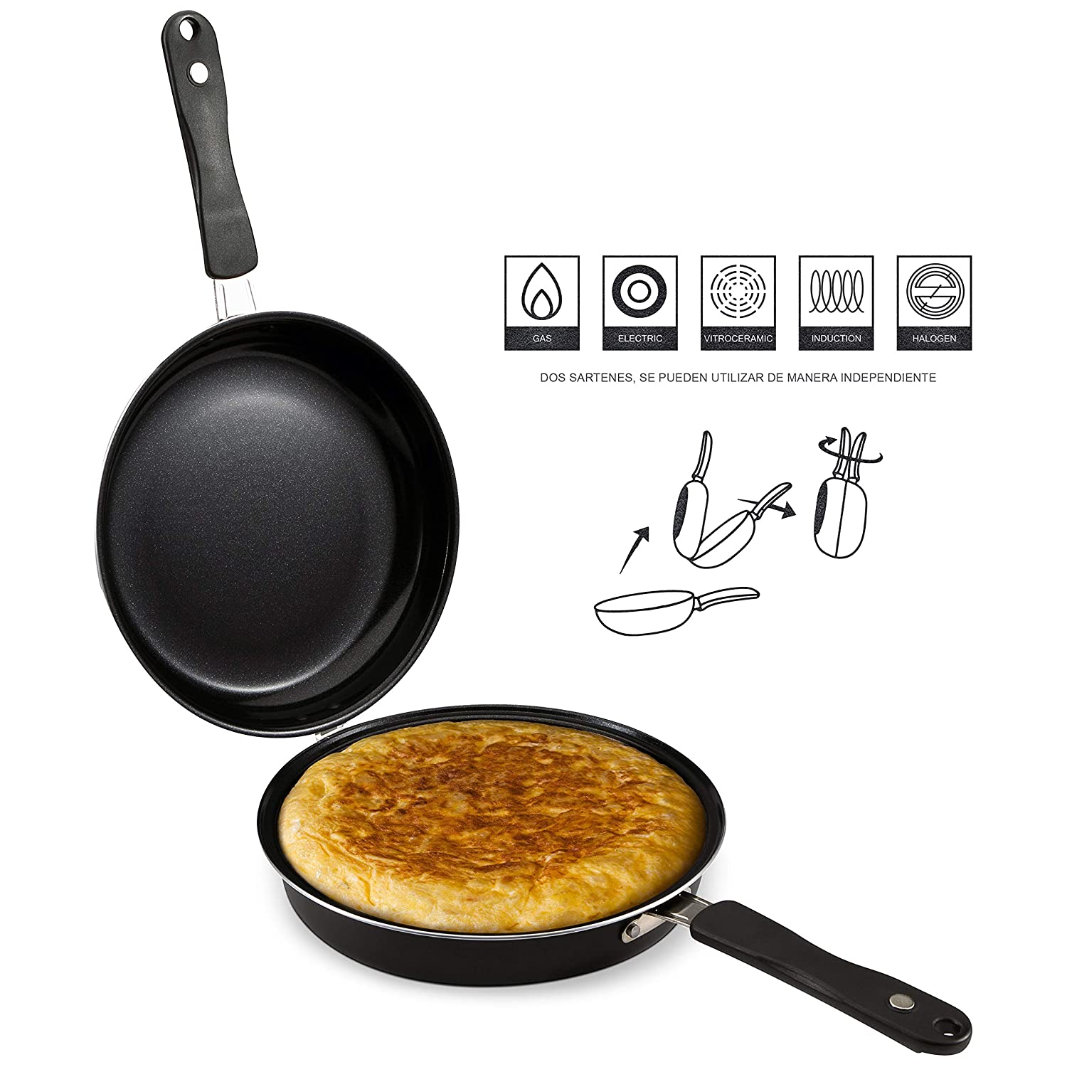 Amazon.com: Renberg Q2914 Double Frying Pan, Special Tortillas, 24 x 9.5 cm, Induction, Malaga, Black: Home & Kitchen