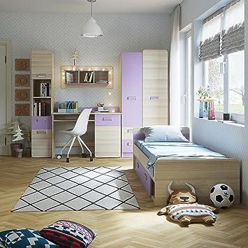 smartbett jugendzimmer komplett set limo 02 5 tlg esche natur violett