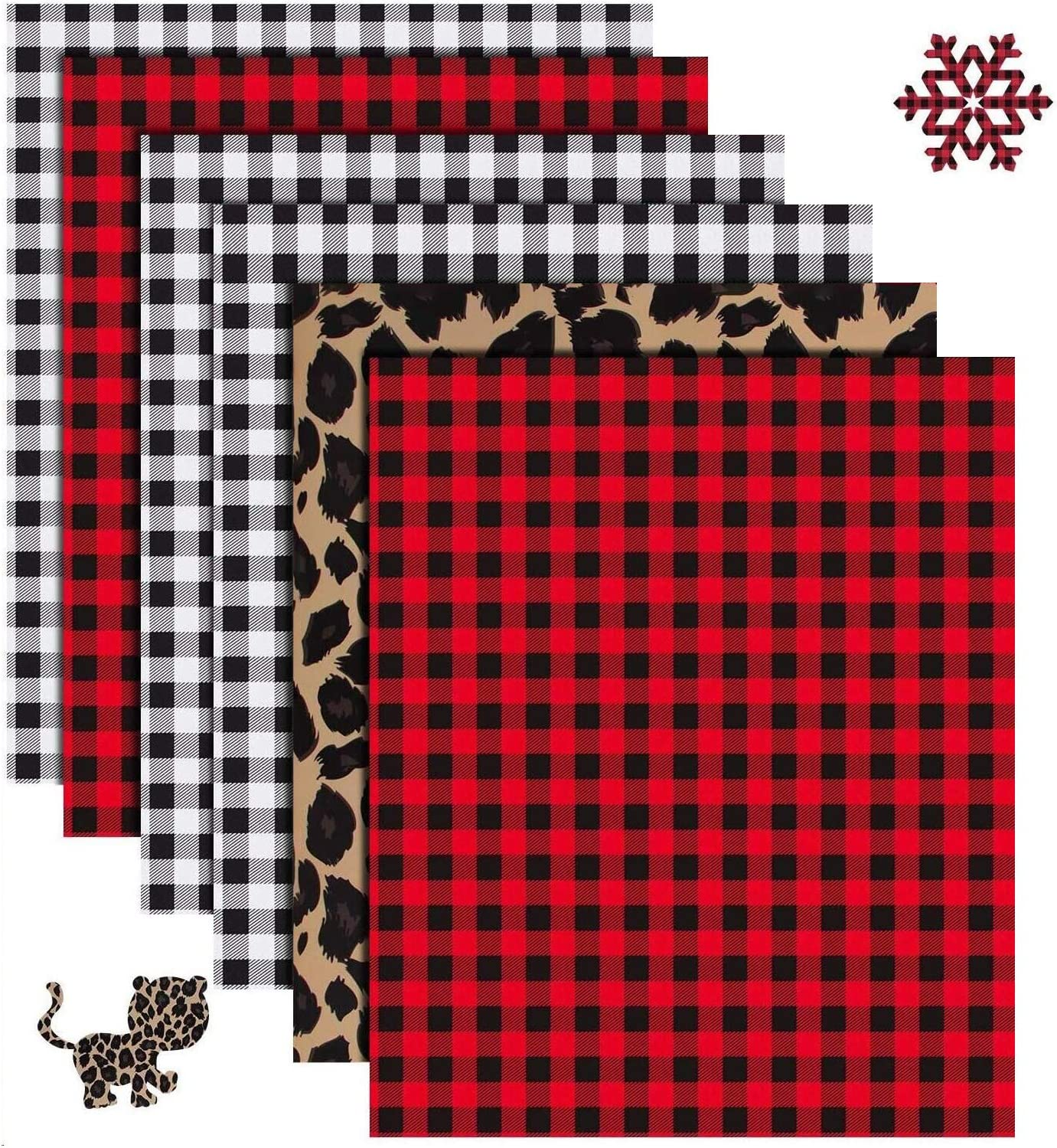 Red, White-Black, Green, Leopard 8 Sheets Christmas Buffalo Plaid Iron-on Vinyl HTV Assorted Leopard Pattern Check Heat Transfer Vinyl Heat Transfer Vinyl for T-Shirts Fabric Craft 12 x 10 Inch