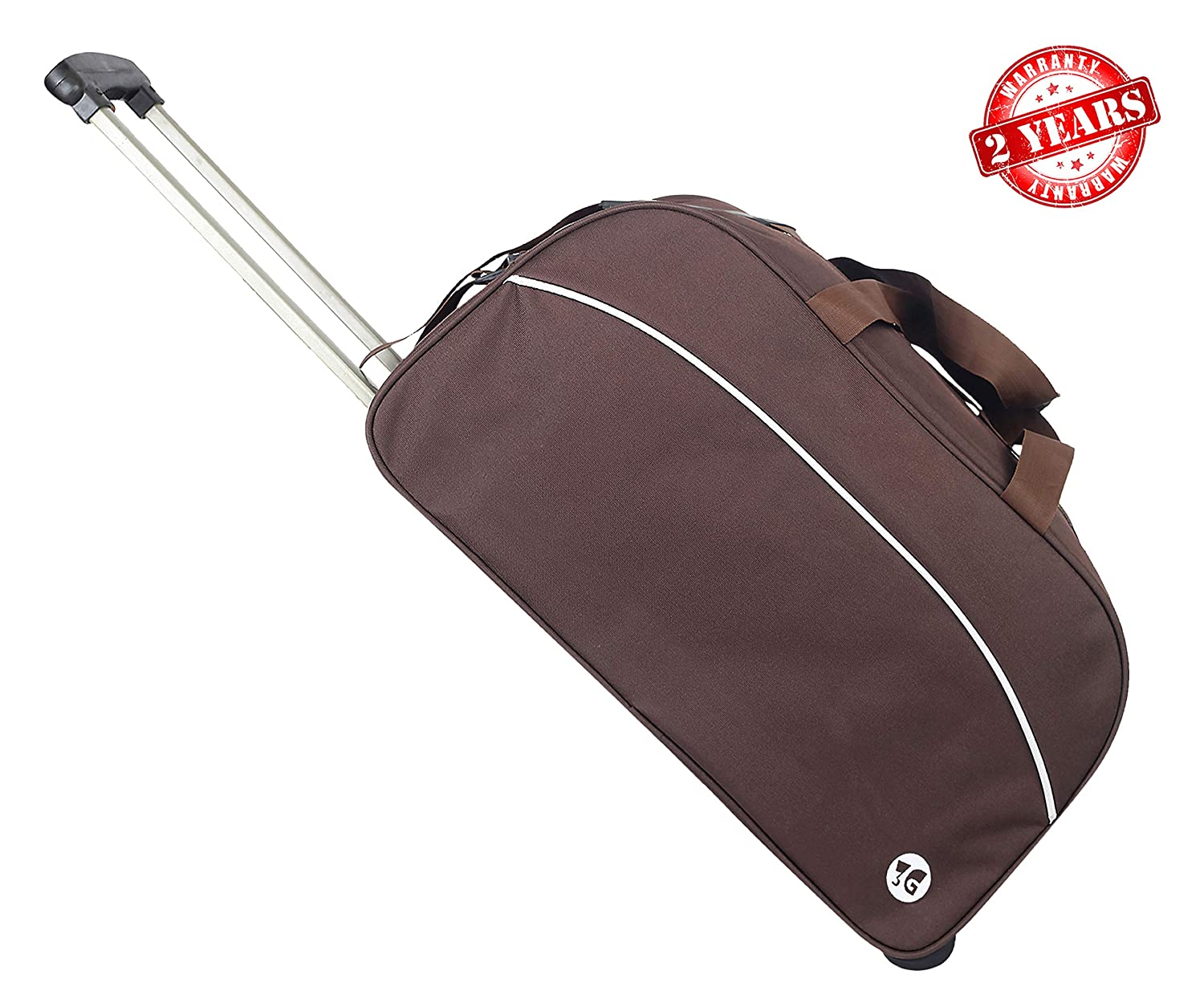 3G Polyester 1000 cm Brown Duffle Trolley Bag with Wheels