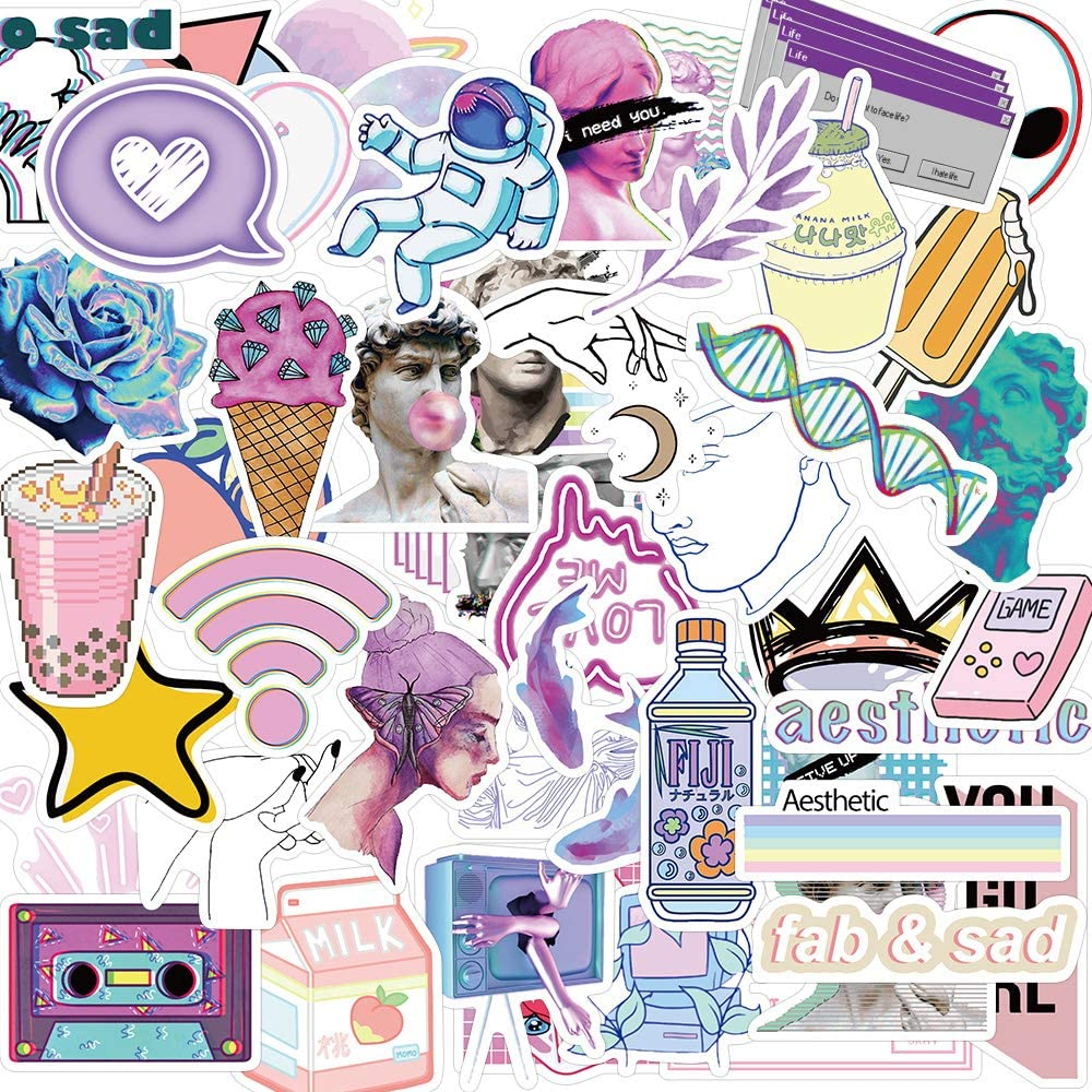50 Pcs Vaporwave Stickers Decals for Water Bottle Hydro Flask Laptop Luggage Car Bike Bicycle Helmet Vinyl Waterproof Vaporwave Stickers Pack