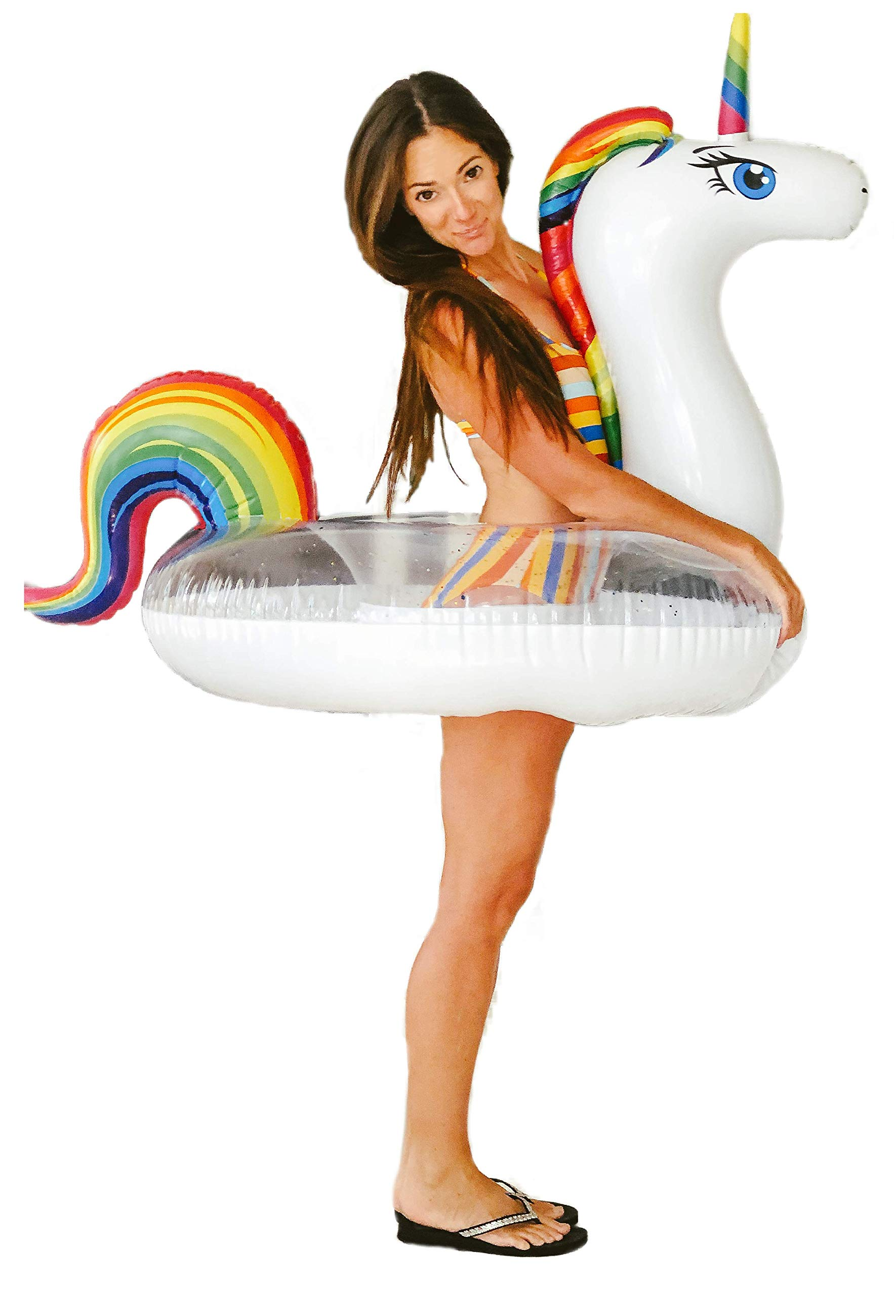 Unicorn Pool Floats for Kids - Glitter Filled - Ride ON Inflatable Unicorn Float for Pool Lake River RAFT - Giant… 3