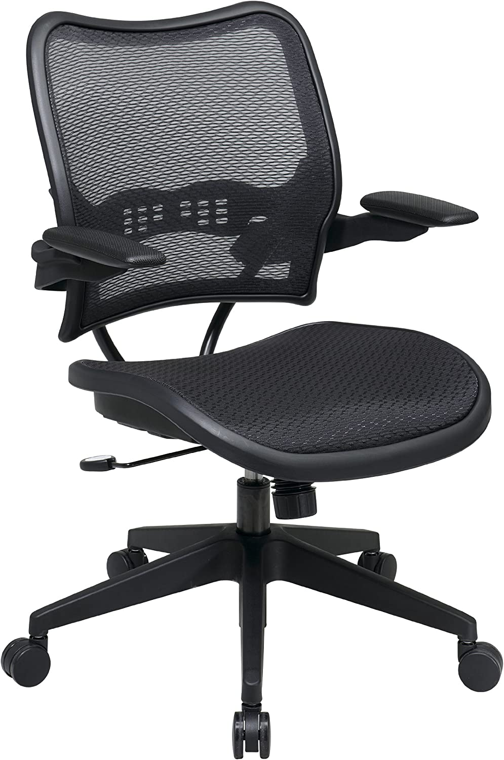 SPACE Seating Deluxe AirGrid Seat and Back, 2-to-1 Synchro Tilt Conrol and Cantilever Arms Managers Chair, Black