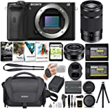 Sony Alpha a6600 APS-C Mirrorless ILC Bundle with 16-50mm and 55-210mm Lenses (9 Items)