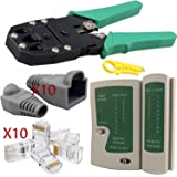 Safekom RJ-45 Crimping Crimper Stripper Cutter, Cable Tester Lead Testing ADSL DSL Connection Wire Cutter, 10 Pcs RJ 45 Connectors End, 10x RJ45 Crimp Boots End LAN Tool Ethernet Networking Network Kit For RJ45 Cat5e Cat6 Cat6e Cat7 RJ11 RJ12 - Brand New 1 Year Warranty Free & Fast Same Day Dispatch UK Seller