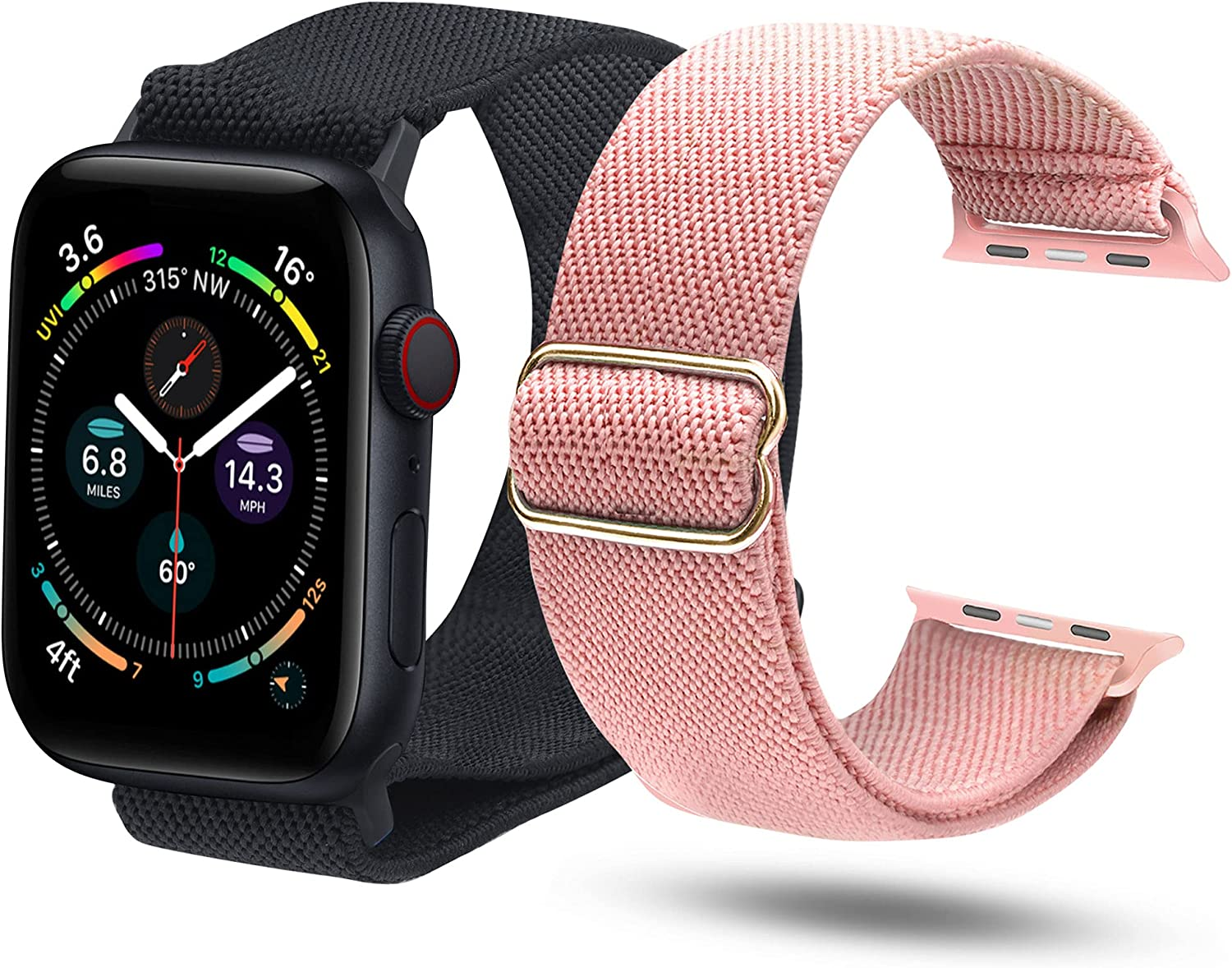 ULUQ Compatible with Apple Watch Bands 40mm 38mm for iWatch Series 6 5 4 3 2 1 SE, Adjustable Stretch Strap, Sport Elastics Wristbands Women Men, 2Pack