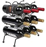 Finnhomy 9 Bottle Wine Rack, Wine Bottle Holder Free Standing Wine Storage Rack, Iron, Brozen