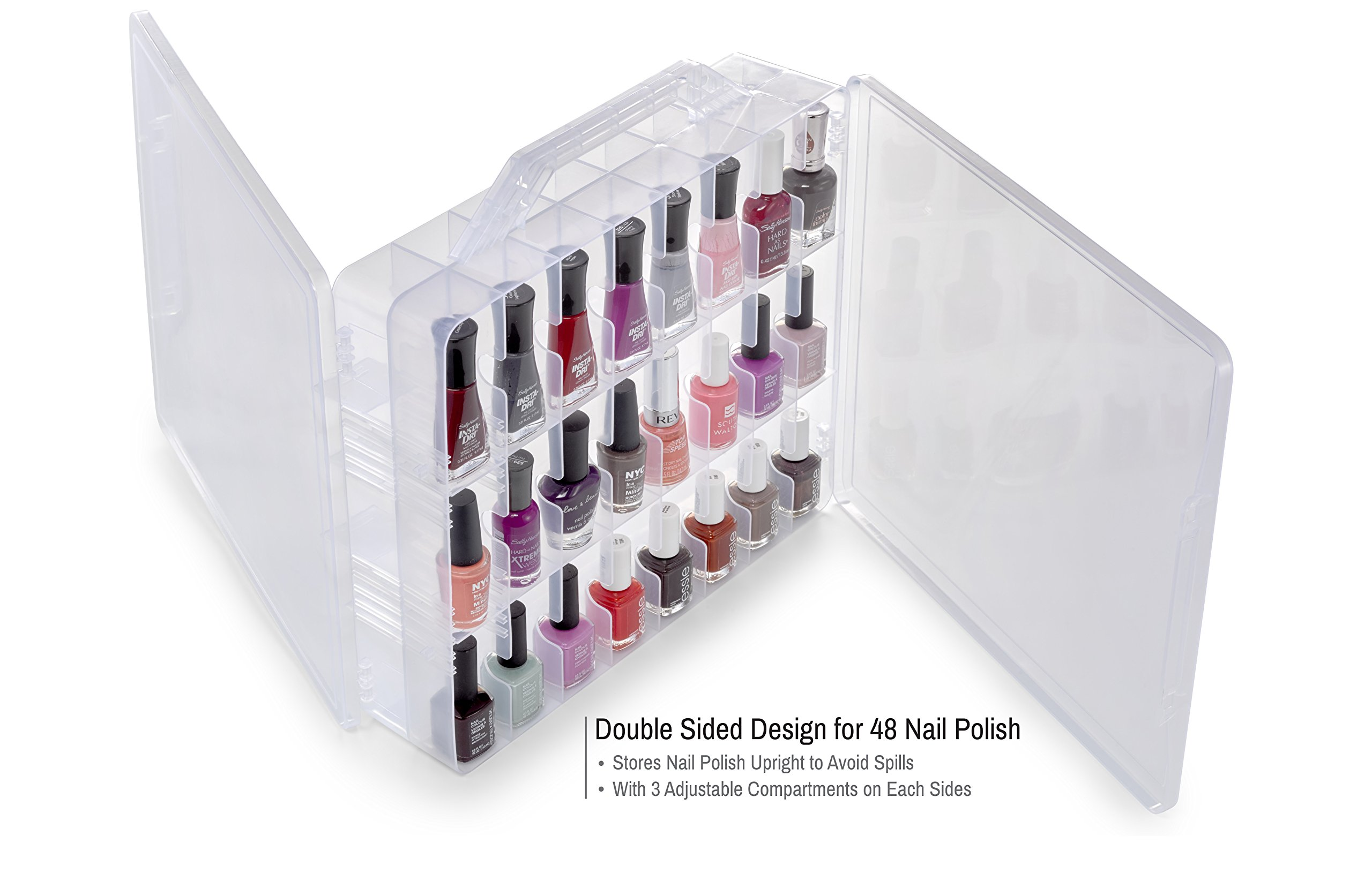 Bins & Things Nail Polish Organizer | Thread Spools Storage Case (48 Slots) Heavy-Duty Sewing, Embroidery, and Craft Box | Essential Oils Organizer | Travel-Friendly Carry Handle
