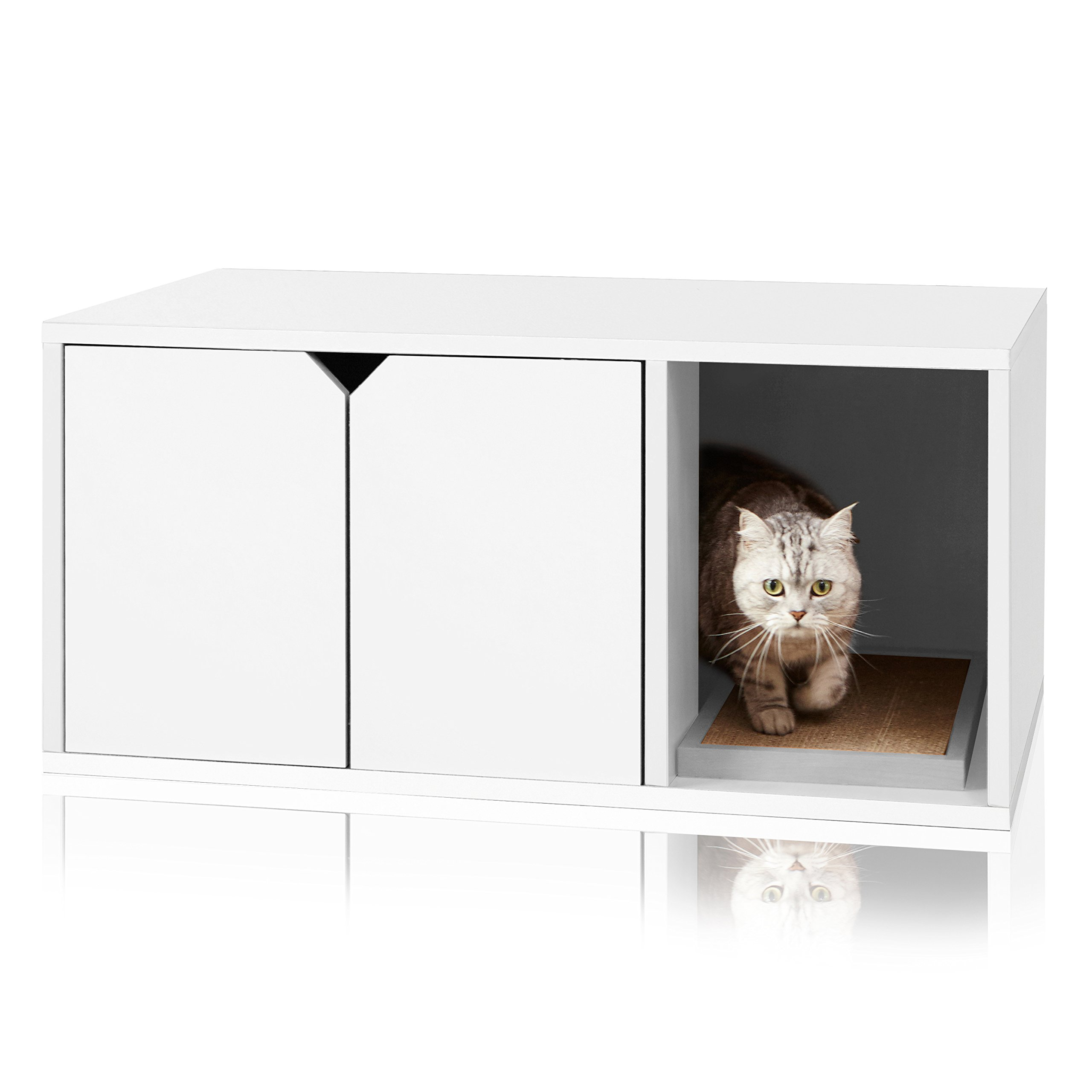 Way Basics Modern Cat Litter Box Enclosure, White (Tool Free Assembly and Sustainable Made from Non Toxic zBoard paperboard) by Way Basics