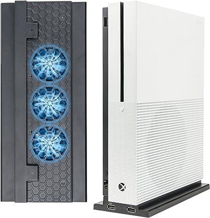 Xbox one s ventilador, LeSB xbox one s soporte vertical con 3 ventiladores de enfriador de