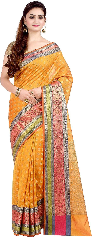 Chandrakala's Women's Cotton Silk Blend Indian Ethnic Banarasi Saree with unstitched Blousepiece(1081)