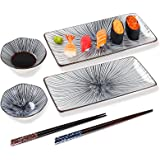 6 piece sushi plate set, 10-inch ceramic rectangle sushi dishes, sushi serving set for 2, with 2 sushi plates 2 sauce bowls 2