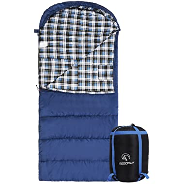 REDCAMP Cotton Flannel Sleeping Bag for Adults, 23/32F Comfortable, Envelope with Compression Sack Blue/Grey 2/3/4lbs (91 x35 )