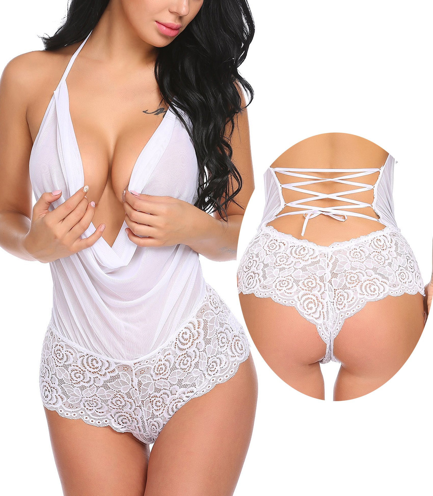 Avidlove Women Sexy Lingerie Teddy One Piece Lace Halter Babydoll Bodysuit White S