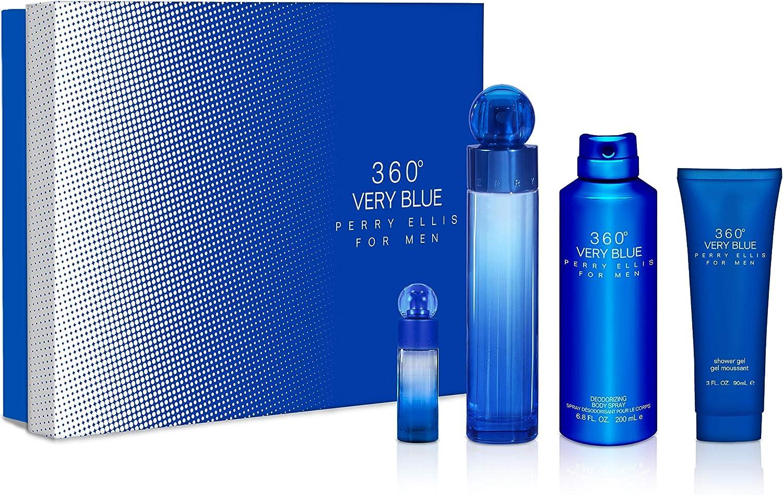 Perry Ellis 360 Very Blue by Perry Ellis Gift Set 3.4 oz Eau De Toilette Spray + .25 oz Mini EDT Spray + 3 oz Shower Gel + 6.8 oz Body Spray