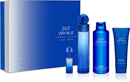 Perry Ellis 360 Very Blue by Perry Ellis Gift Set - 3.4 oz Eau De Toilette Spray + .25 oz Mini EDT Spray + 3 oz Shower Gel + 6.8 oz Body Spray / - (Men): Amazon.es: Belleza