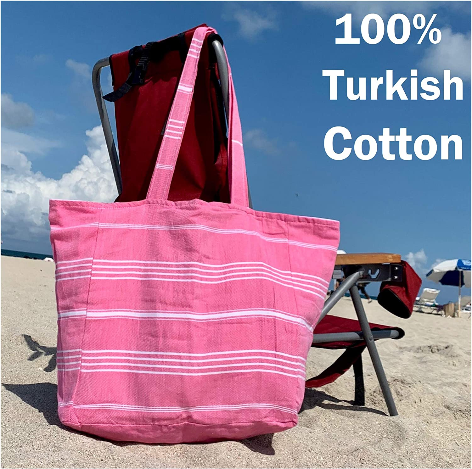 Luxury Lined Tote Beach Bag 100/% Soft Turkish Cotton w// Interior Liner Zippered Pouch Womens Shoulder Mush Travel Bag w// Snap Closure Buttons Extra Large Yoga Sports 20x18 XL Pink