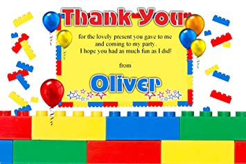 10 personalised boys girls brick style birthday party thank you