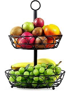Obstschale Metall mit St/änder f/ür extra viele Bananen Obstkorb schwarz Chefarone Obst Etagere und Bananenst/änder als dekoratives Set