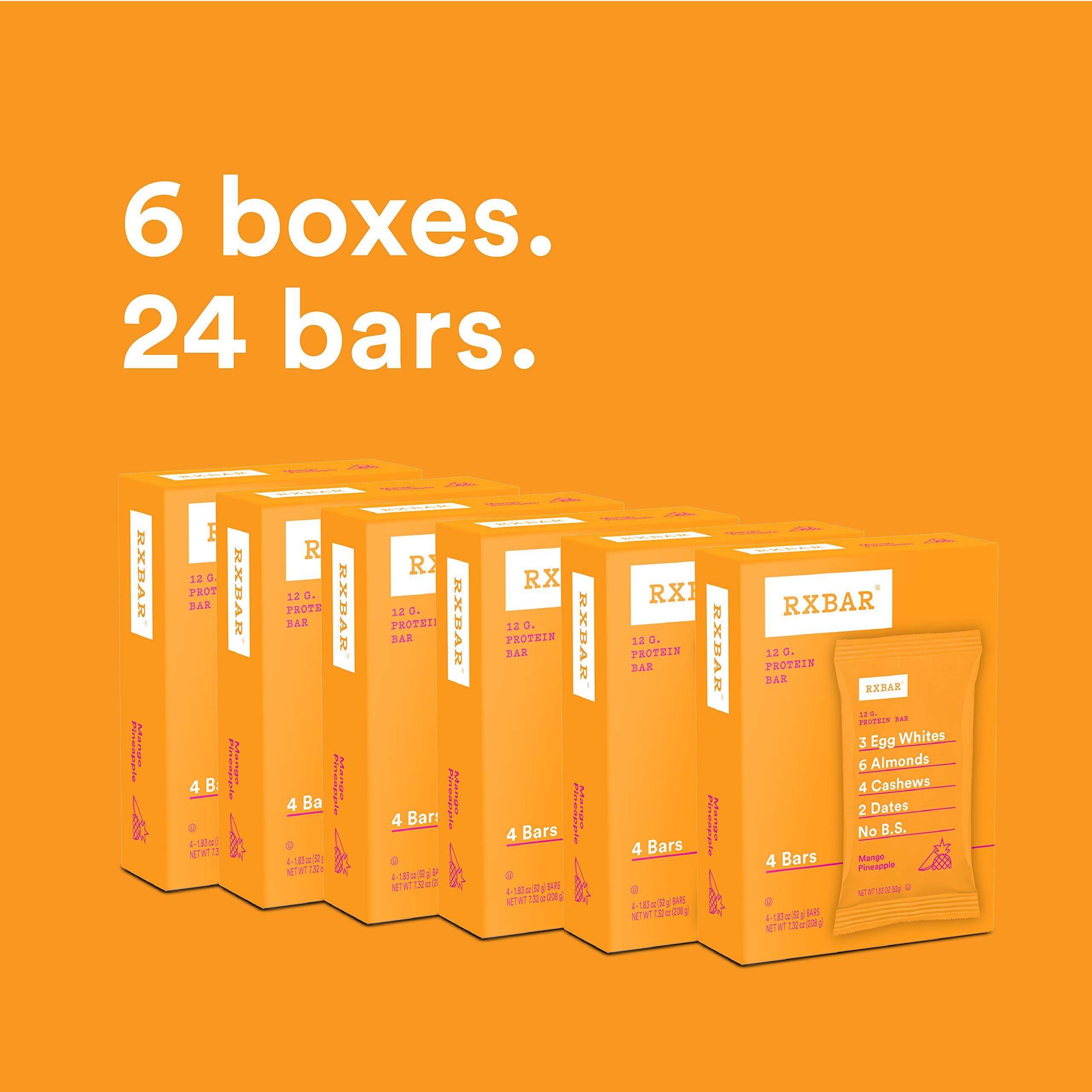 RXBAR Real Food Protein Bar, Mango Pineapple, Gluten Free, 1.83oz Bars, 24 Count by RXBAR (Image #2)