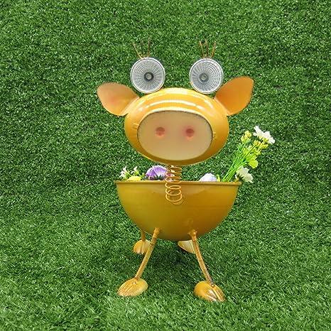 Amazon.com Solar Garden Lights/Pig Stakes Flower Pot/Planter w Outdoor Art Decor Animals Themed Solar Powered L&s Garden Décor Weather Resistant Metal ... & Amazon.com: Solar Garden Lights/Pig Stakes Flower Pot/Planter w ...