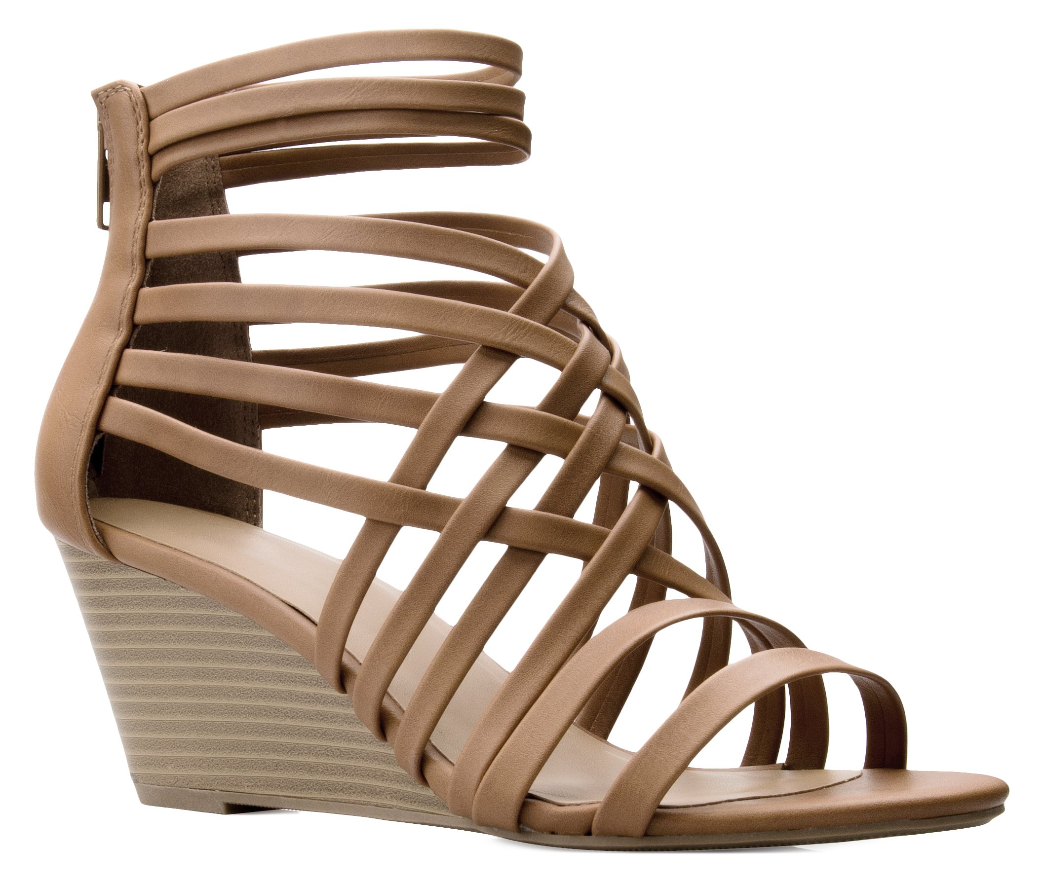 OLIVIA K Women's Strappy Woven Wedge Sandals - Sexy Open Toe Heel - Comfort, Fasionable, Casual Style by OLIVIA K