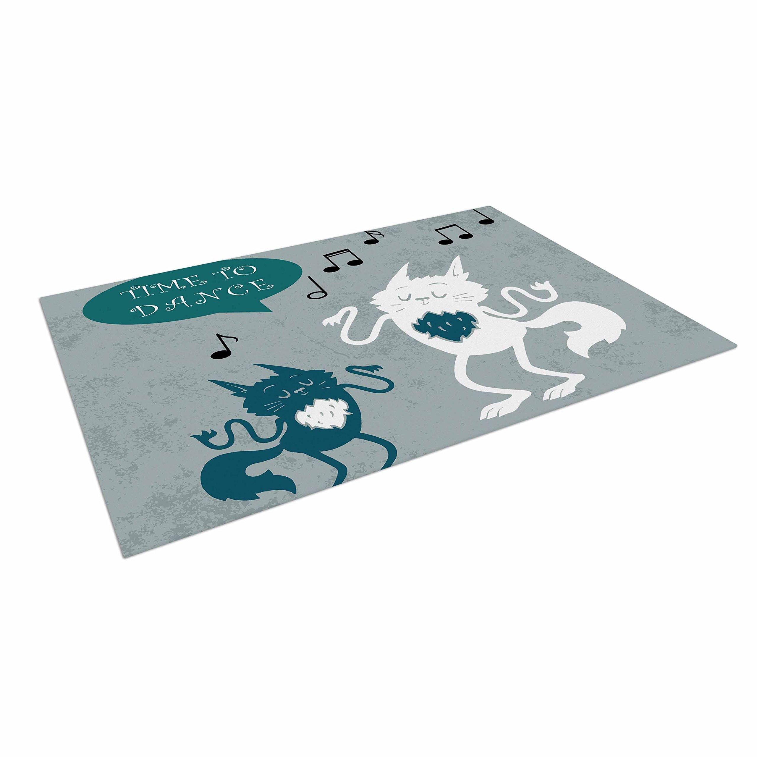 KESS InHouse Anya Volk ''Time To Dance'' Green White Outdoor Floor Mat, 4' x 5'