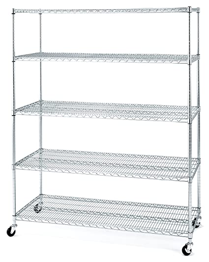 Seville Classics UltraDurable Commercial Grade 5 Tier Steel Wire Shelving With Wheels 24
