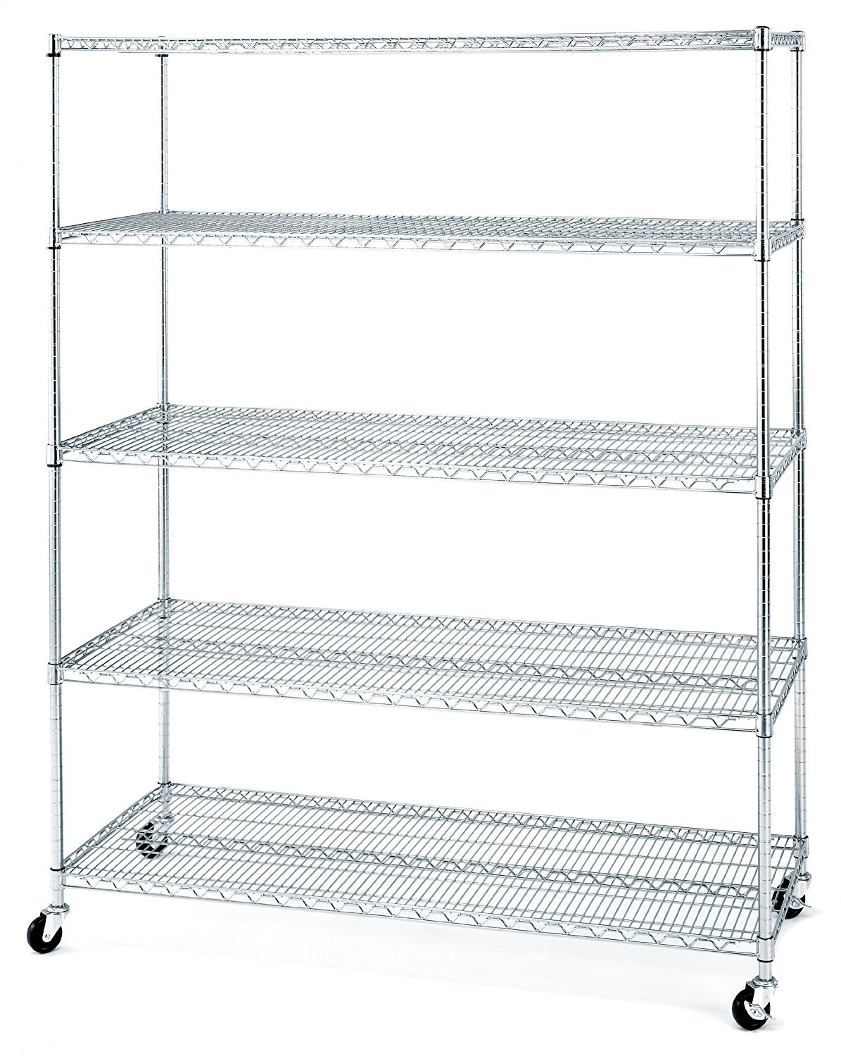Seville Classics 5-Tier UltraZinc NSF Steel Wire Shelving /w Wheels, 24'' D x 60'' W x 72'' H