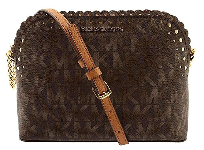 0d370c9fa0eed6 MICHAEL Michael Kors Violet Cindy Dome Crossbody Signature MK Brown PVC:  Handbags: Amazon.com