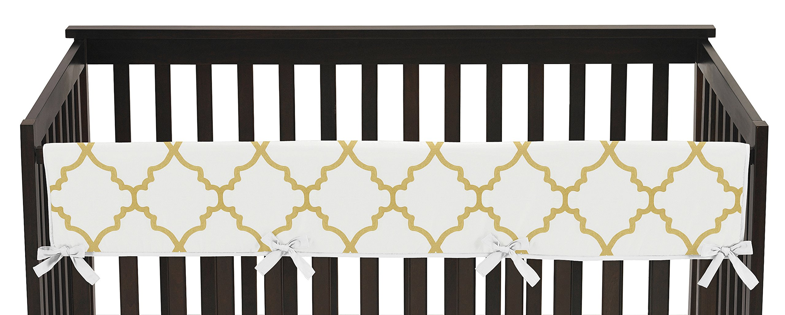 Sweet Jojo Designs White and Gold Trellis Lattice Long Front Rail Guard Baby Teething Cover Crib Protector Wrap