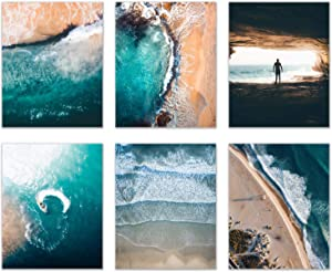 California Surfing Ocean Prints - Set of 6 (8x10) Glossy Wall Art Decor - Drone Beach Boats Photography